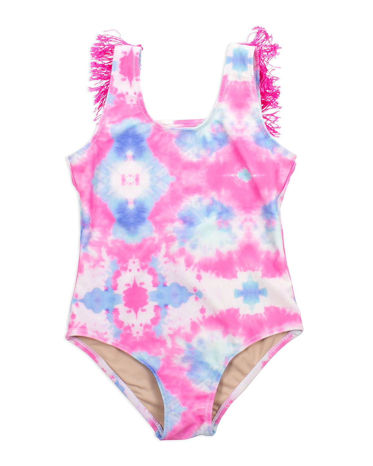 Shade Critters Cottons GIRL'S TIE-DYE FRINGE ONE-PIECE SWIMSUIT