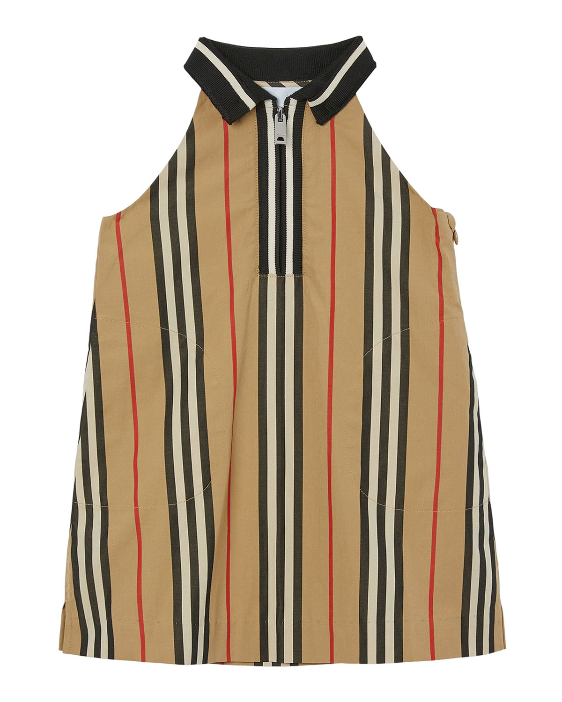 Burberry GIRL'S KAREN ICON STRIPE COLLARED DRESS
