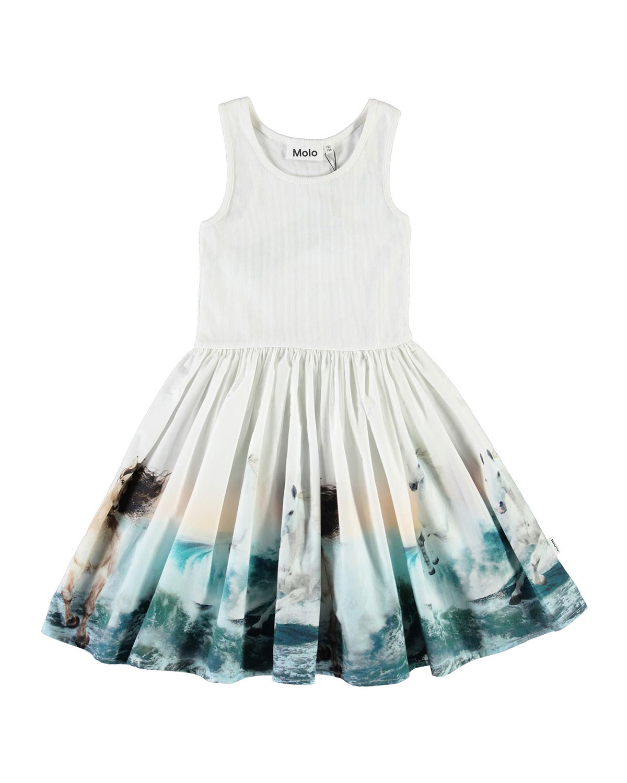 Molo Dresses GIRL'S CASSANDRA RIB-KNIT HORSE-PRINT DRESS
