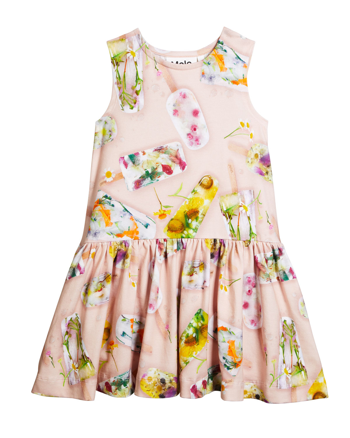 Molo Cottons GIRL'S CANDECE FLORAL POPSICLE SLEEVELESS DRESS