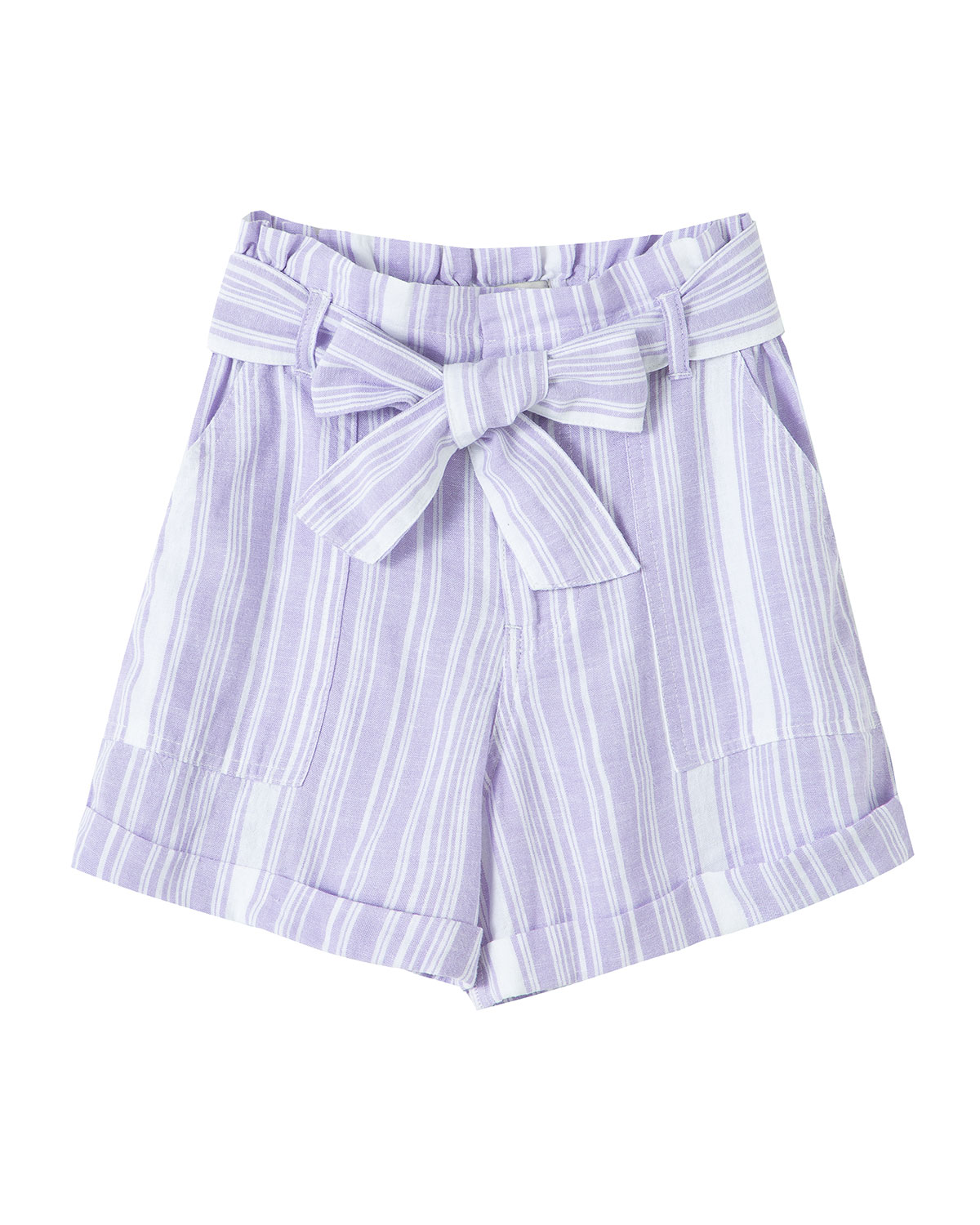 Habitual GIRL'S STRIPED PAPER BAG BELTED SHORTS