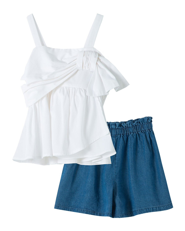Habitual Cottons GIRL'S DRAPED SLEEVELESS TOP W/ CHAMBRAY SHORTS