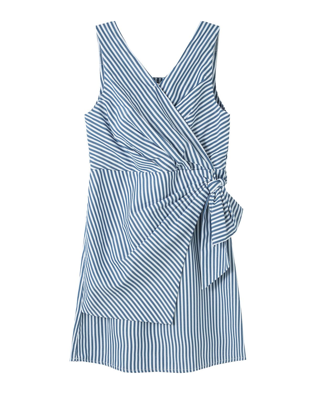 Habitual GIRL'S STRIPED FAUX-WRAP SLEEVELESS DRESS