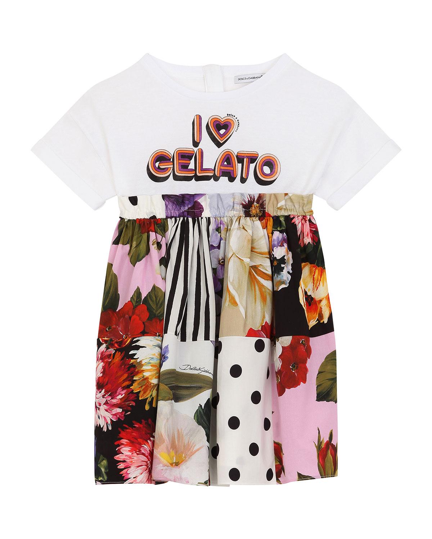 Dolce & Gabbana Cottons GIRL'S I HEART GELATO PATCHWORK DRESS
