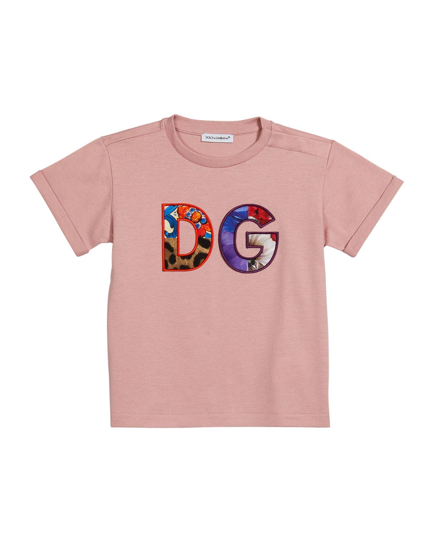 Dolce & Gabbana Cottons GIRL'S MIXED-PRINT D & G LOGO TEE