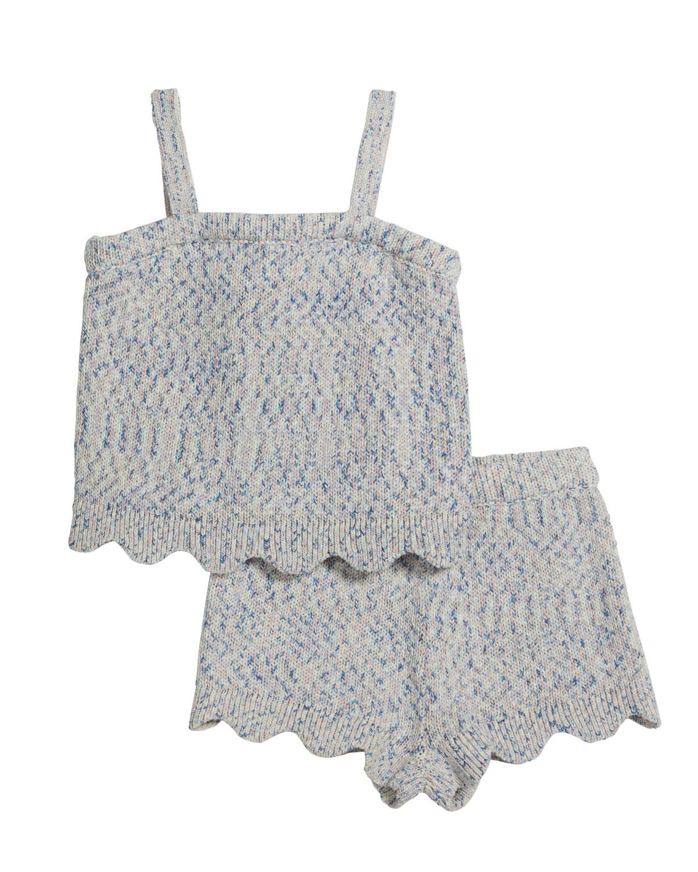Girl's Rib Knit Scalloped Tank Top w/ Shorts