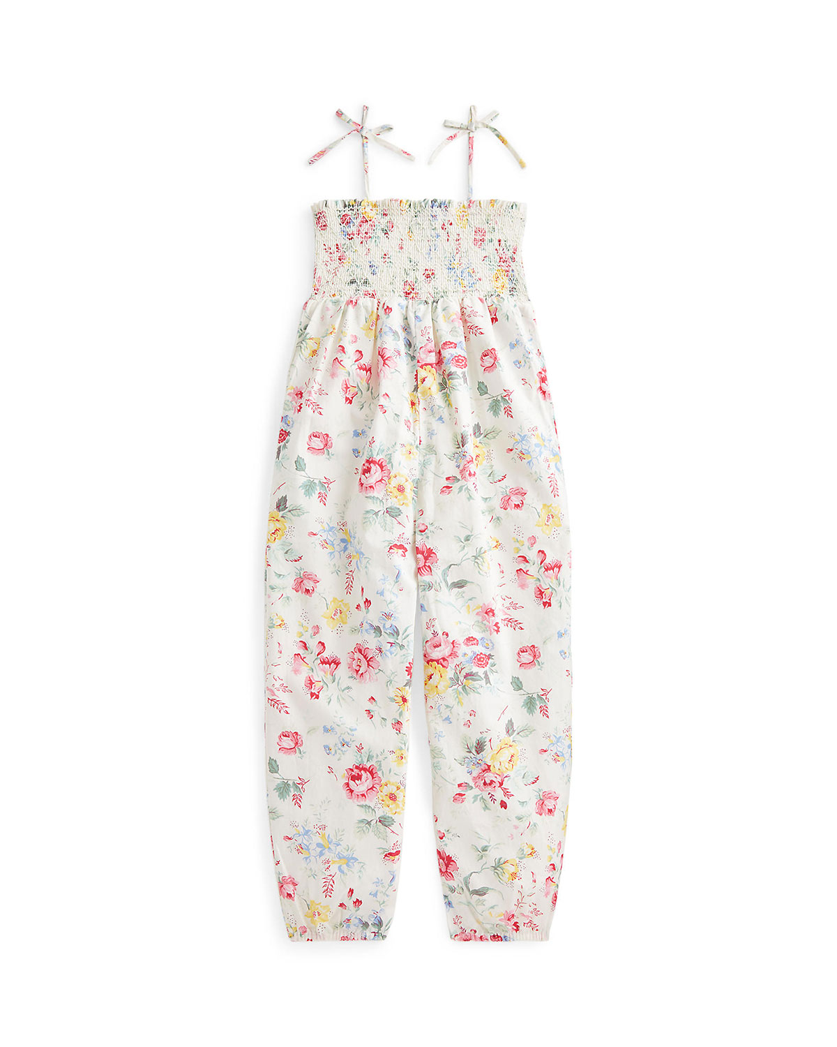 Girl's Floral-Print Sleeveless Smocked Jumpsuit, Size 2-4