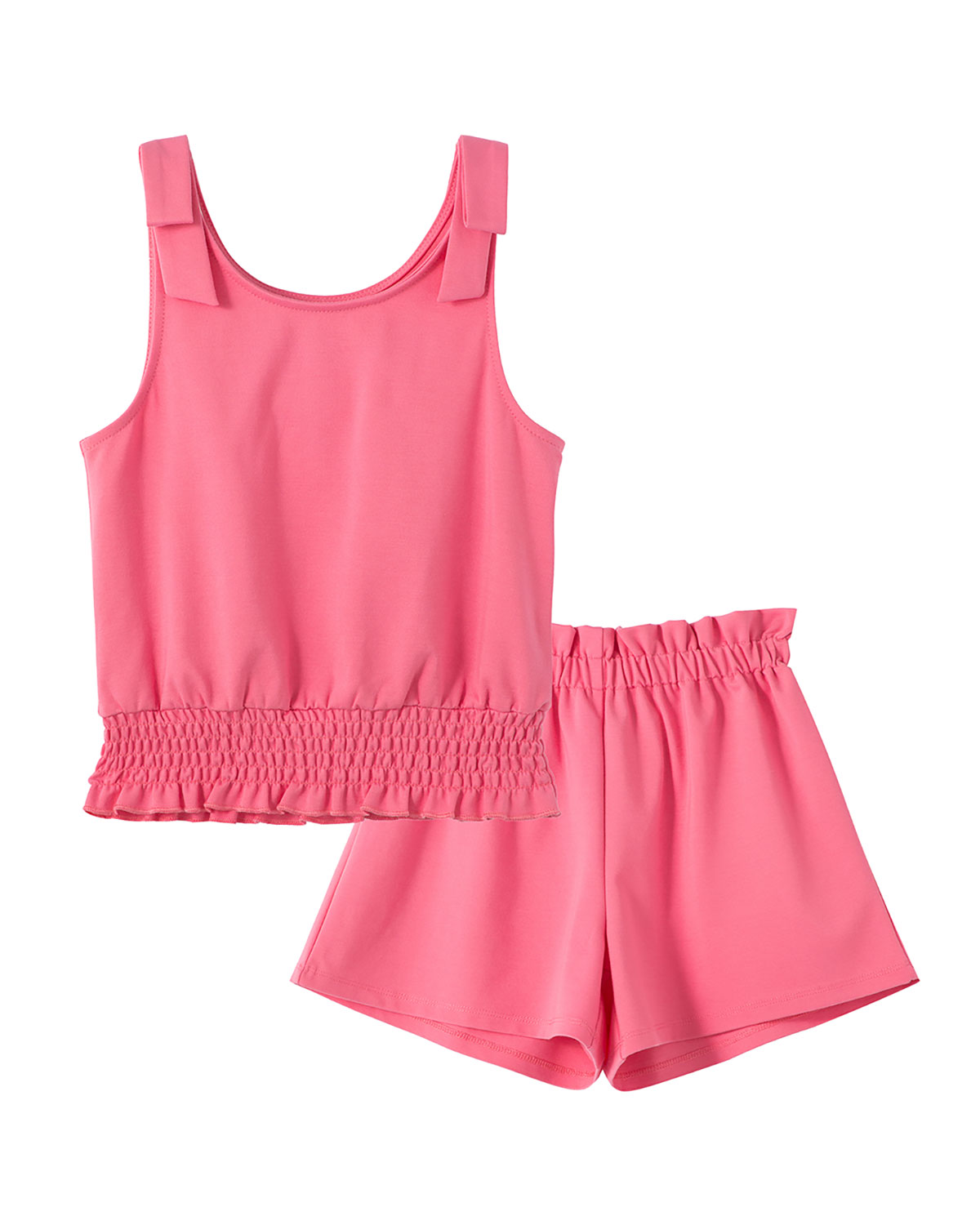 Girl's Solid Ponte Tank Top w/ Paper Bag Shorts