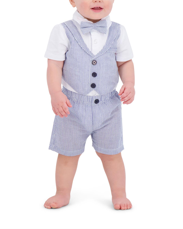 Boy's Seersucker Vest Playsuit Set w/ Bow Tie