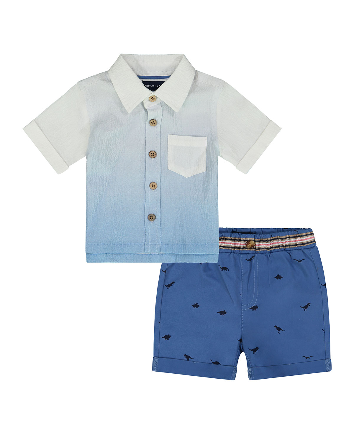 Boy's Ombre Button-Down Shirt w/ Printed Shorts