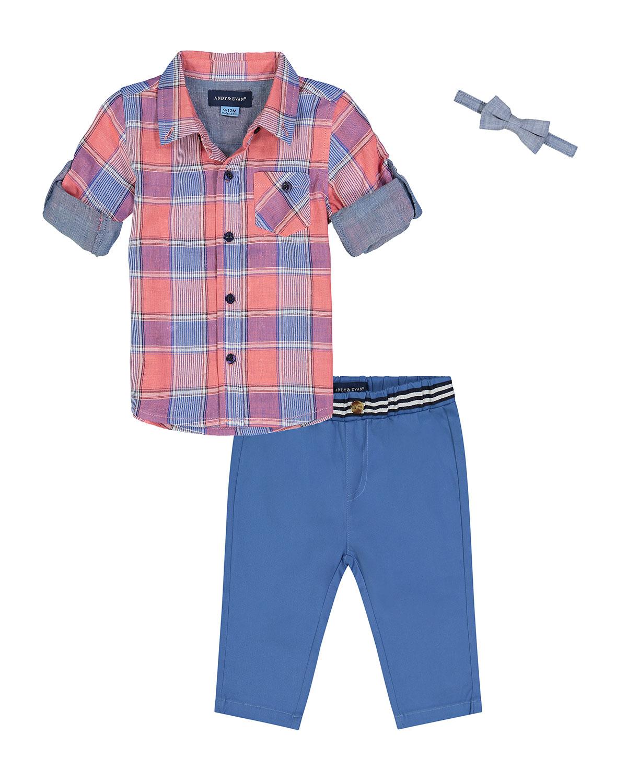 Boy's Plaid Button-Down Shirt w/ Pants
