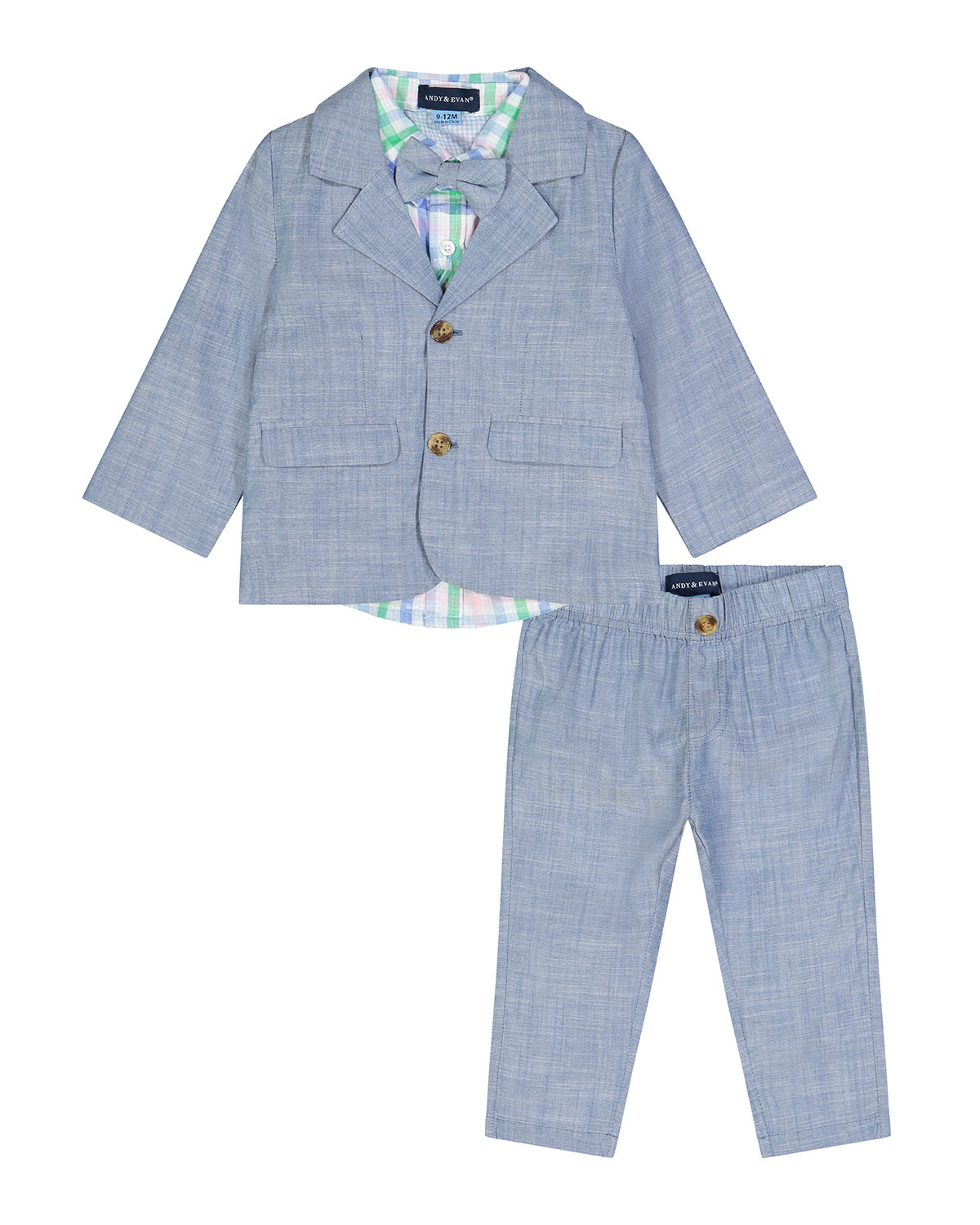 Boy's 3-Piece Chambray and Plaid Suit Set