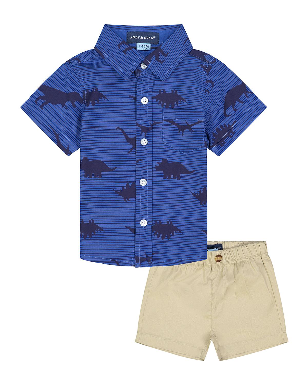 Boy's Dinosaur-Print Short-Sleeve Shirt w/ Shorts
