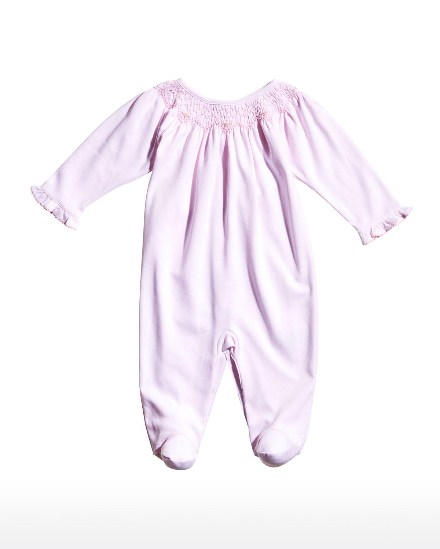 Girl's Smocked Embroidered Footie Pajamas