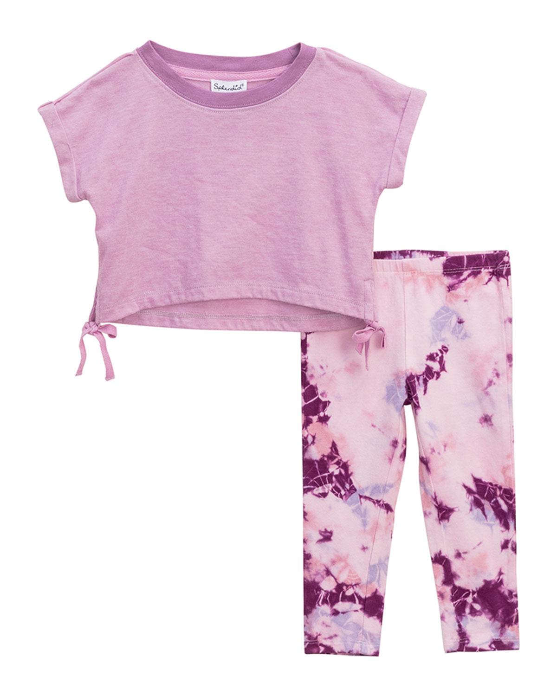Girl's Top & Tie-Dye Leggings Set, Size 3-24 Months
