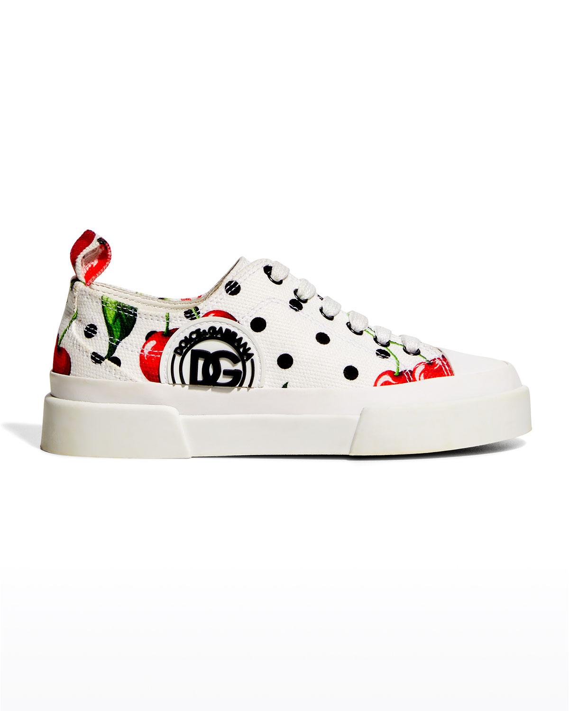 Kid's Portofino Polka Dot & Cherry-Print Low-Top Sneakers