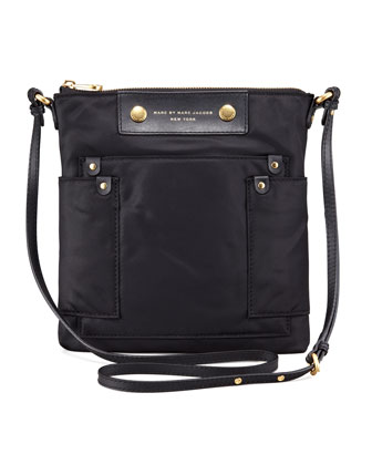 Preppy Nylon Sia Crossbody Bag, Black