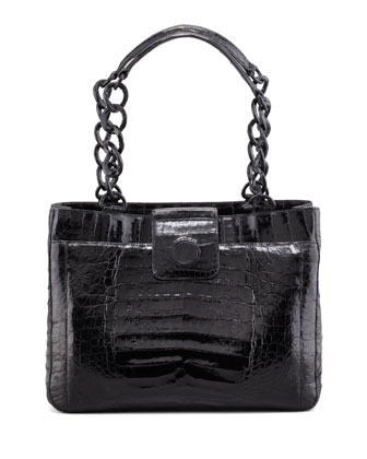 Small Chain Crocodile Tote Bag, Black
