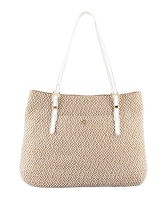 Jav II Square Squishee Tote Bag, Natural/White