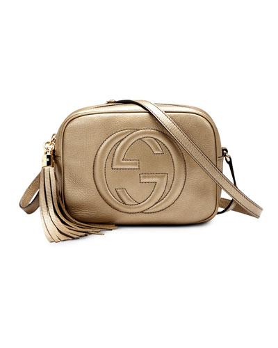 Soho Metallic Leather Disco Bag, Gold