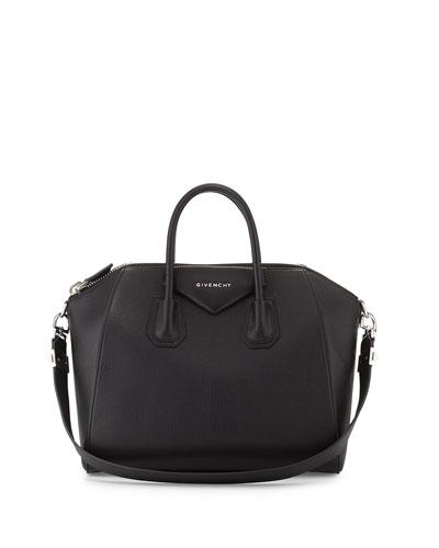 Antigona Medium Sugar Satchel Bag, Black