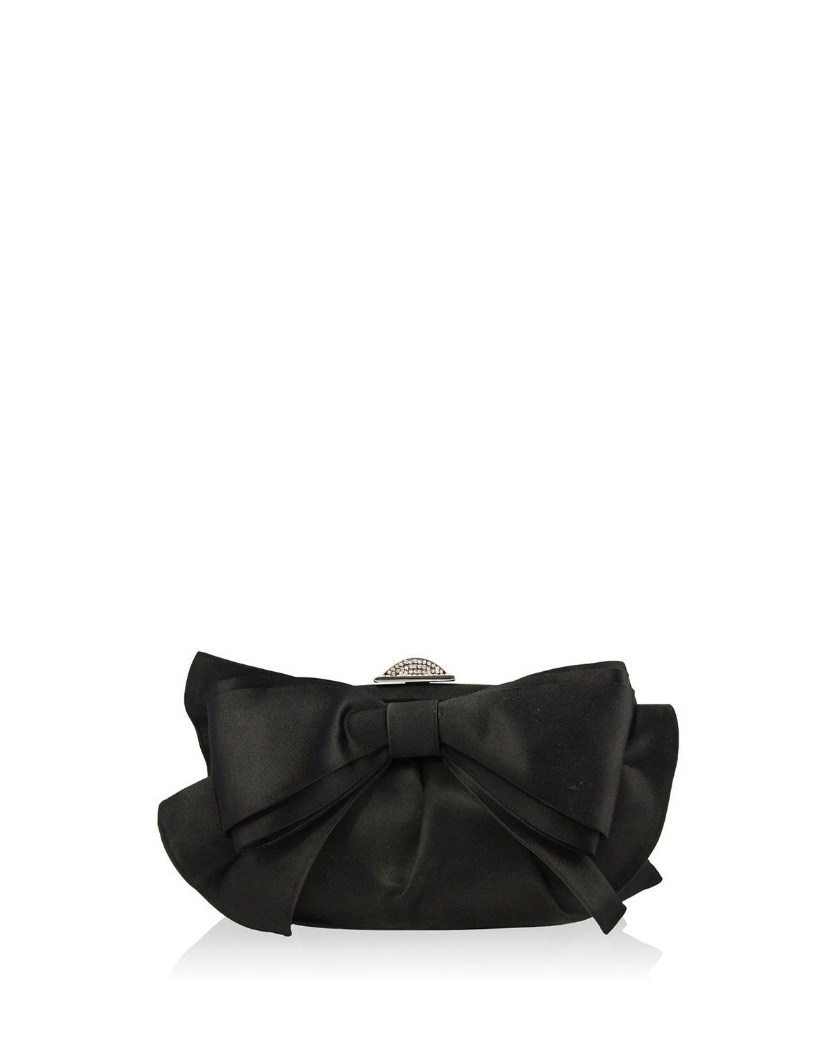 Madison Satin Bow Clutch Bag, Silver/Black