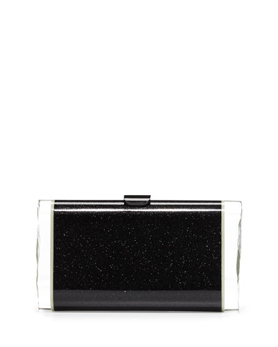 Lara Backlit Glow-in-the-Dark Acrylic Clutch Bag, Obsidian Sand