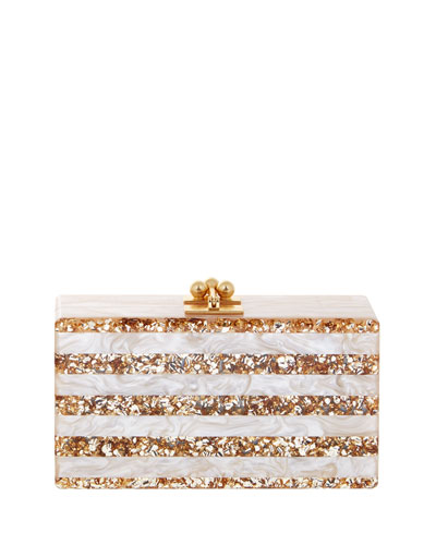 Jean Confetti-Striped Box Clutch Bag, Nude/Sand