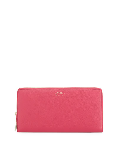 Saffiano Leather Travel Wallet, Fuchsia