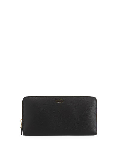 Leather Zip-Around Travel Wallet, Black