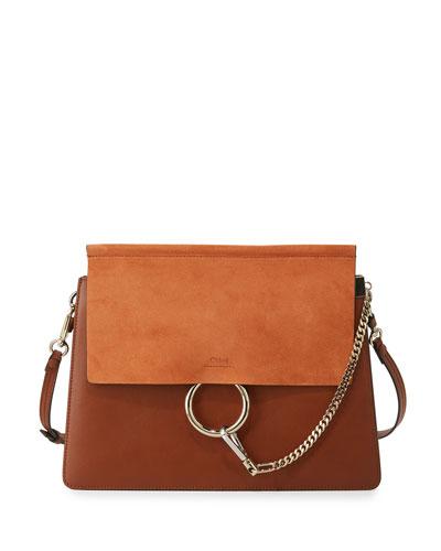 Faye Medium Flap Shoulder Bag, Brown