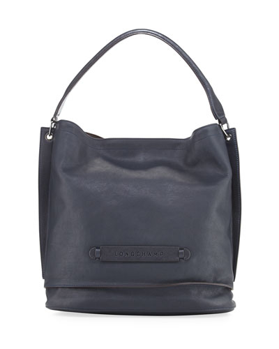Longchamp 3D Leather Hobo Bag, Midnight Black