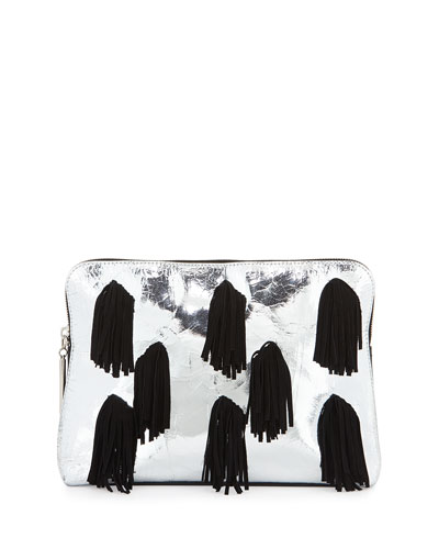 31 Minute Leather Cosmetic Zip Pouch, Silver/Black