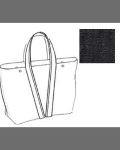 Large Denim East-West Tote Bag, Dark Wash
