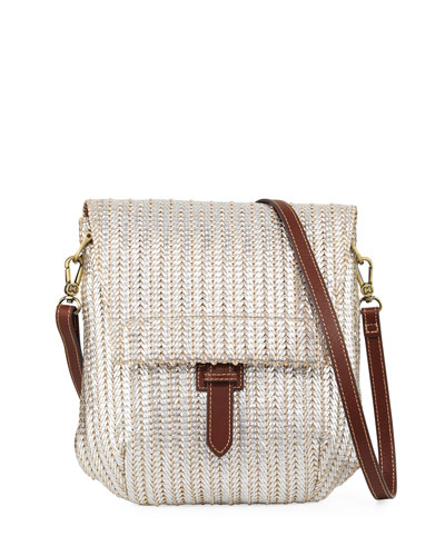 Jade Flap-Top Crossbody Messenger Bag, Silver