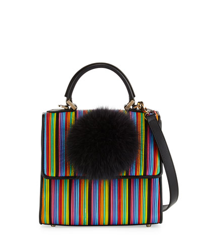 Alex Mini Bunny Striped Shoulder Bag, Black Multi