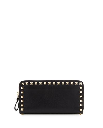 Rockstud Vitello Continental Zip Wallet