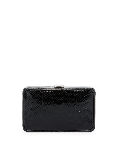 Snakeskin Box Clutch, Black (Nero)