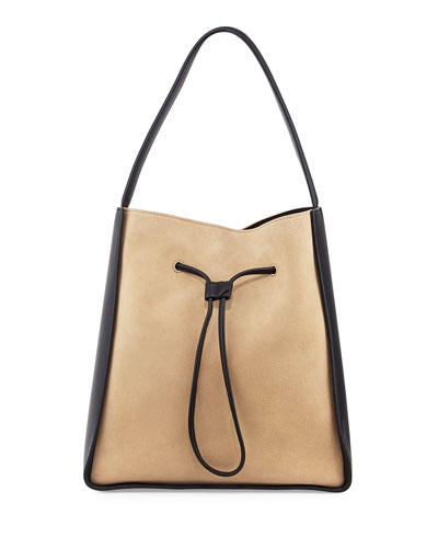 Soleil Large Drawstring Bucket Bag, Almond/Black