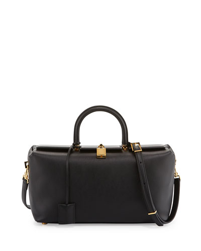 India Small Leather Tote Bag, Black