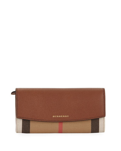 Porter House Check & Leather Continental Wallet, Cocoa