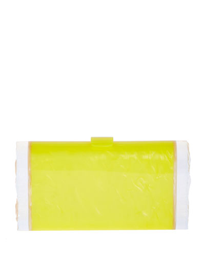 Lara Acrylic Clutch Bag, Acid Yellow/Nude