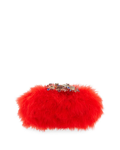 Marabou Feather Clutch Bag, Flame Red
