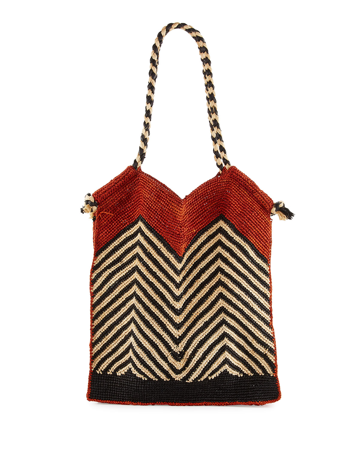 Indo Chevron Woven Straw Beach Tote Bag, White