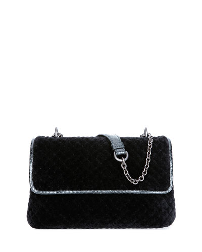 Olimpia Intrecciato Quilted Velvet Shoulder Bag, Black