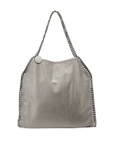 Falabella Shimmery Faux-Leather Big Tote Bag, Light Gray