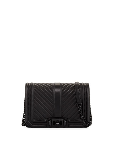 Love Small Chevron Quilted Crossbody Bag, Black