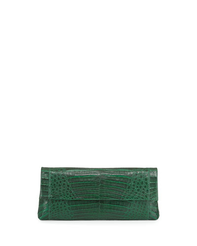 Gotham Crocodile Flap Clutch Bag, Green Matte