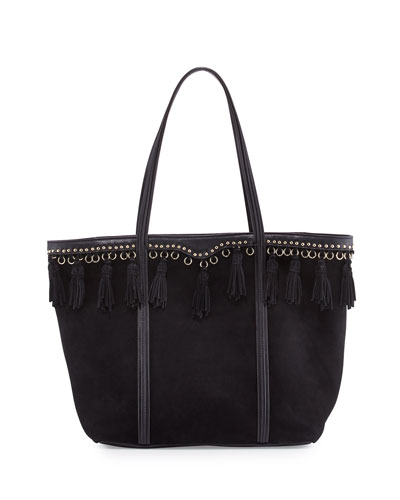 Multi-Tassel Suede Tote Bag, Black