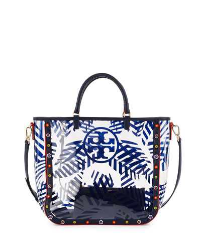 Marguerite Palm-Print PVC Tote Bag